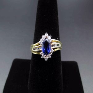 Vintage Size 7 10K Yellow Gold Blue Stone With Cubic Zirconia Diamonds Ring Wedding Engagement Anniversary Elegant Beautiful Everyday Unique for Sale in Lynnwood, WA