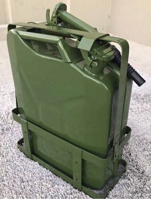 Photo New in box 5 gallon 20 liter jerry can steel gas tank canister military green with holder included