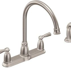 Moen CA87000SRS Banbury High-Arc 2-Handle Standard Kitchen Faucet with Side Sprayer in Spot Resist Stainless Thumbnail