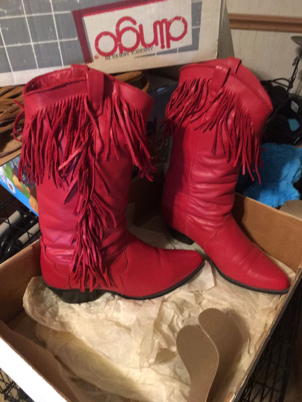 Vintage Dingo Ruby Red Deercow Boots 7M (OBO)
