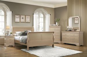 🍯Brand New Gold Gloss Eastern King Sleigh Bed 5pc Set! for Sale in Atlanta, GA