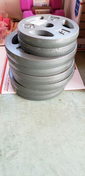 Photo 70 LBS of CAST IRON WEIGHT PLATES