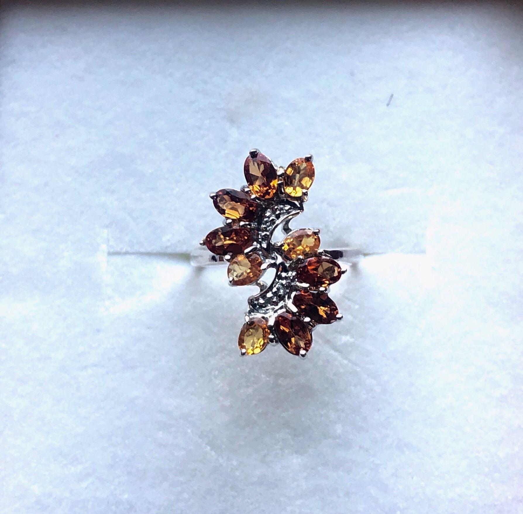 Marquis Hessonite Garnet Ring