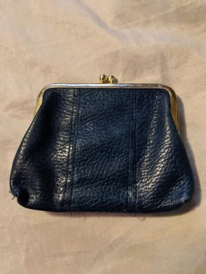Photo Vintage Retro Blue Buxton Leather Coin Purse Bag Kiss Clasp Black Designer