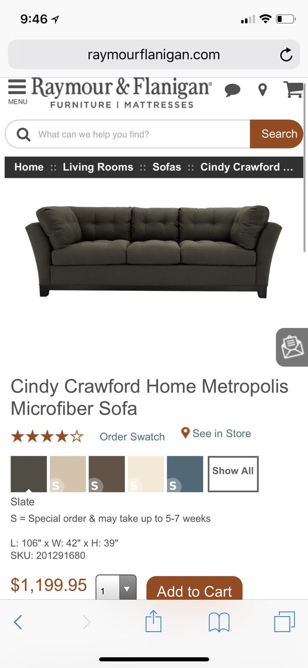 Cindy Crawford Metropolis Slate 4 Piece Couches For Sale In Staten