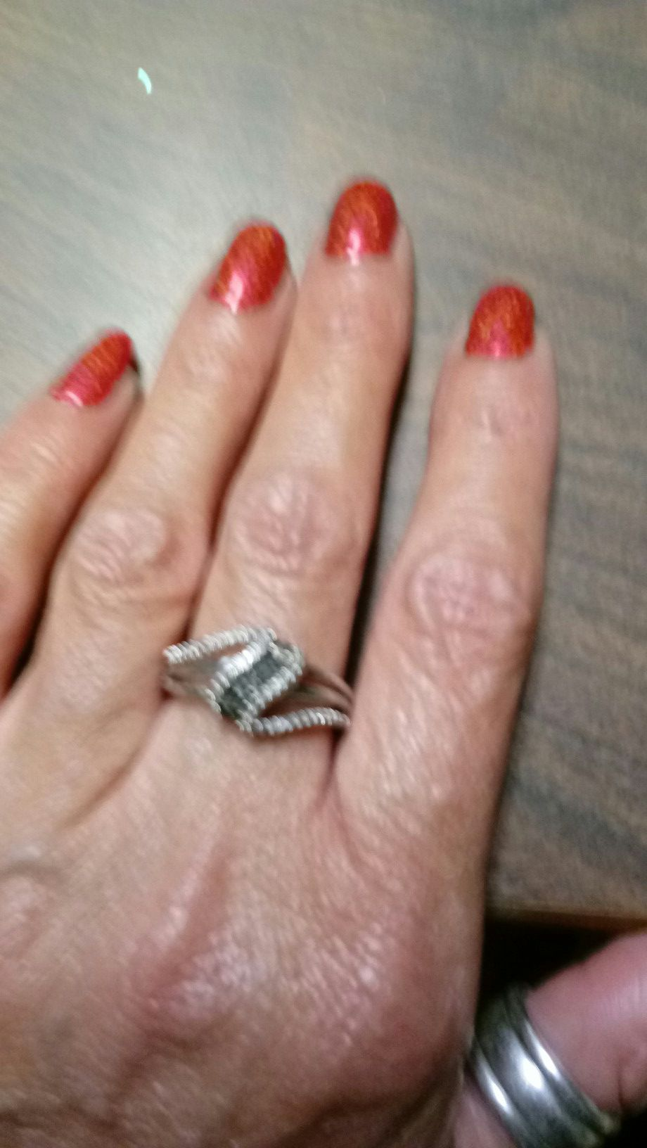 Black diamond and silver ring