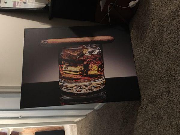 Cigar bourbon wall decor canvas for Sale in Blacksburg, VA - OfferUp