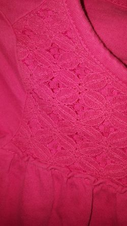 Size 5 girls long sleave crochet design shirt Thumbnail