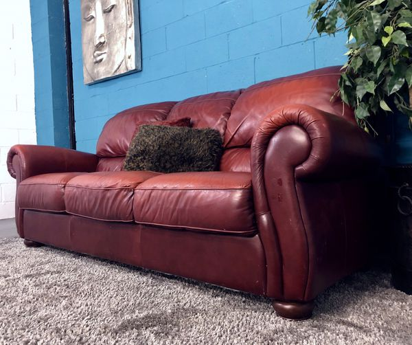 Contempo Red Genuine Leather Sofa Free Delivery 2 Of These Sofas Available For In Atlanta Ga Offerup