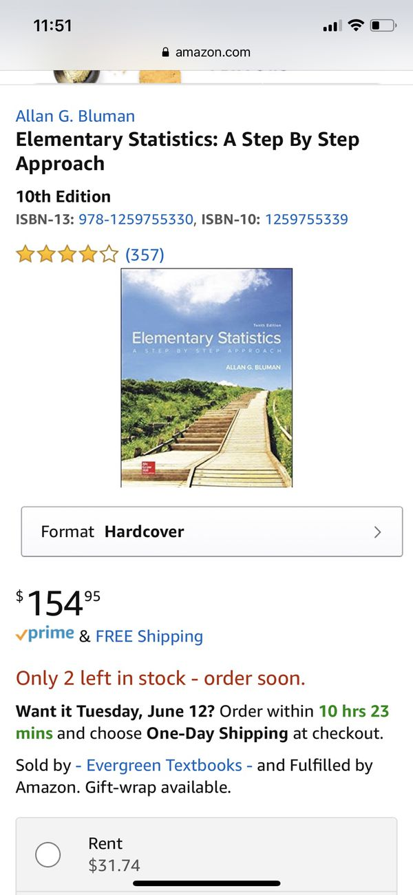 Elementary Statistics A Step By Step Approach 10th Edition For Sale