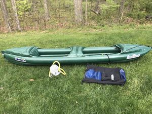 Inflatable 2-person kayak, paddles, lifevests, backpack kayak carrier for Sale in Chantilly, VA