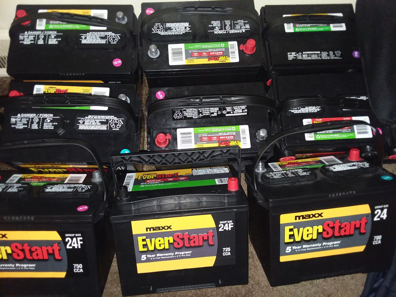 Brand new car batteries and things