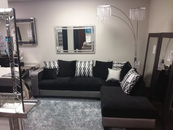 BLACK MICROFIBER SECTIONAL SOFA WITH SILVER TRIM for Sale in ...