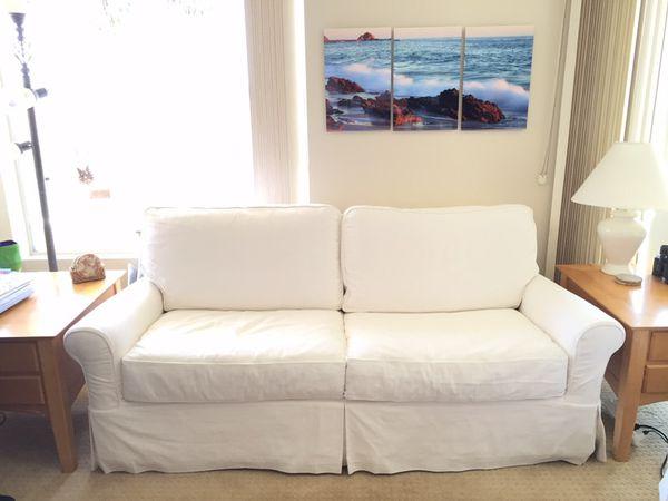 Gorgeous Crate Barrel Bayside Slipcovered Full Sleeper 78 Sofa
