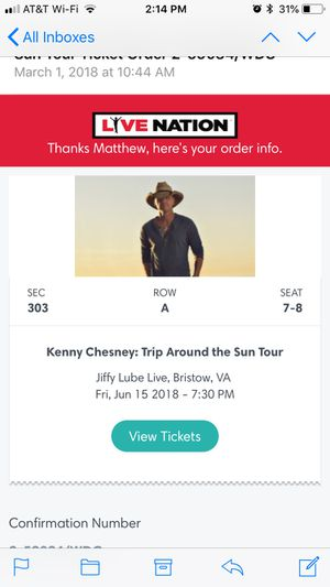 Kenny Chesney Concert Tickets for Sale in Chantilly, VA