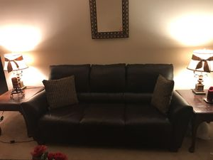 Leather sofa in Brown. Great condition for Sale in Herndon, VA