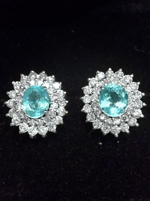 Paraiba Tourmaline and Diamonds Earrings 18KT White Gold for Sale in Orlando, FL