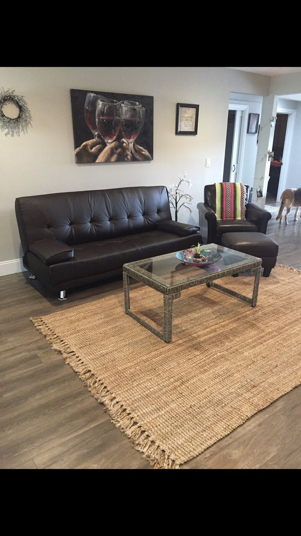 Faux Leather Fold Down Couch