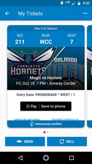 2 tickets to Orlando Magic vs Charlotte Hornets for Sale in Clermont, FL