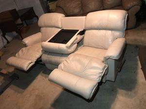 Lazy Boy Sofa Real Thick Leather Recliner Cream Color Couch Center Table Drink Holder 7ft Long for Sale in Silver Spring, MD