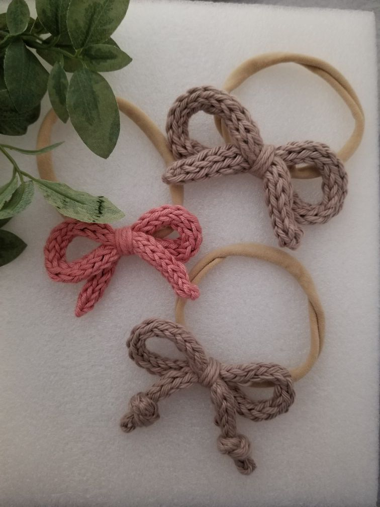 Knitted bow headband Set