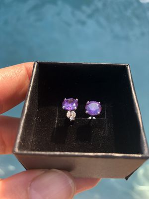 Sterling Silver 925 Amethyst CZ earrings, Engagement/ Wedding/Birthday for Sale in Miami, FL