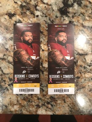 Redskins Cowboys 100 level tickets! for Sale in Silver Spring, MD
