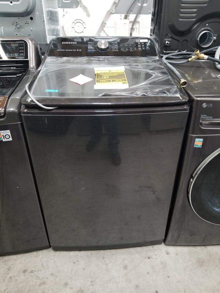 Samsung Top Load Washer And Gas Dryer Set Black stainless New