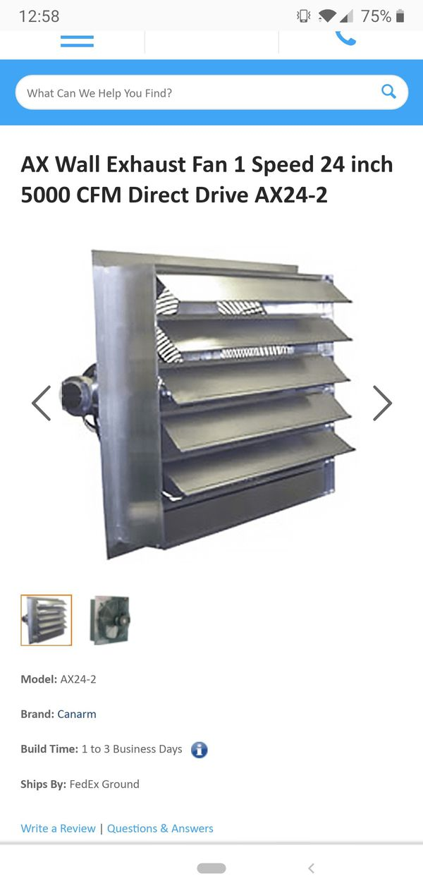 AX Wall Exhaust Fan 1 Speed 24 inch 5000 CFM Direct Drive AX24-2 for Sale  in Ormond Beach, FL - OfferUp