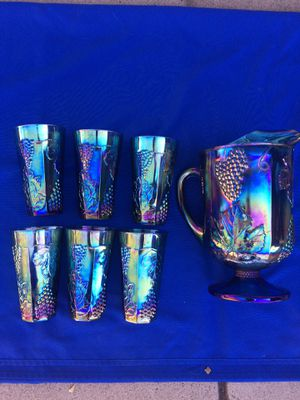 Indiana Carnival Iridescent Blue Pitcher & Tumblers for Sale in Glendale, AZ