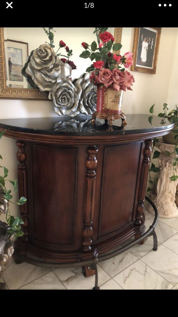 Stand alone wooden bar with black granite top: like new ...