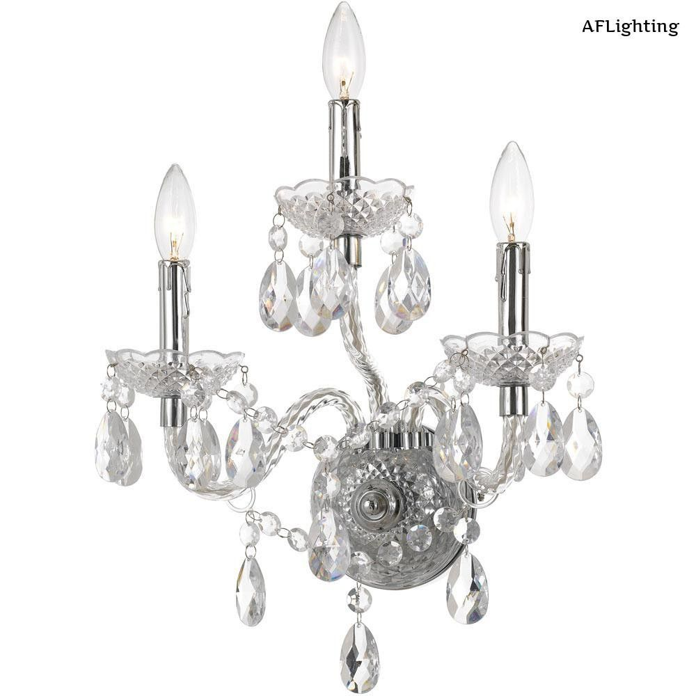 AF Lighting Naples 17.5 in. 3-Light Clear/Chrome Wall Sconce