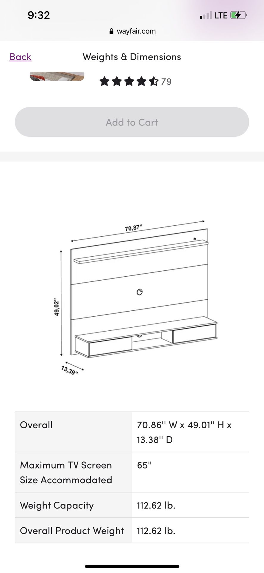 """TV Stand For Tv Up To 65"""""""