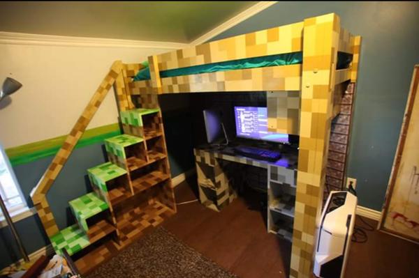 Minecraft Bunk Bed Loft Bed With Desk Custom Built For Tv Show For Sale In Whittier Ca Offerup,Dark Wood Bedroom Furniture Sets Uk