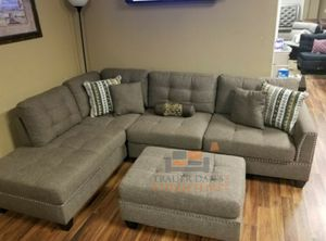 Brand New Coffee Color Linen Sectional Sofa Couch + Ottoman for Sale in Kensington, MD
