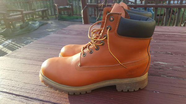 Vintage 1990s Timberland Orange Leather Boots Bubble Gum Soles Men's Sz 9.5 $75obo for Sale in Fort Washington, MD OfferUp