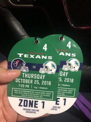 Texans vs Dolphins sideline passes for Sale in Spring, TX