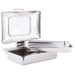 Tablecraft CW40161 7 Qt. Full Size Stainless Steel Induction Chafer with Glass Lid Thumbnail
