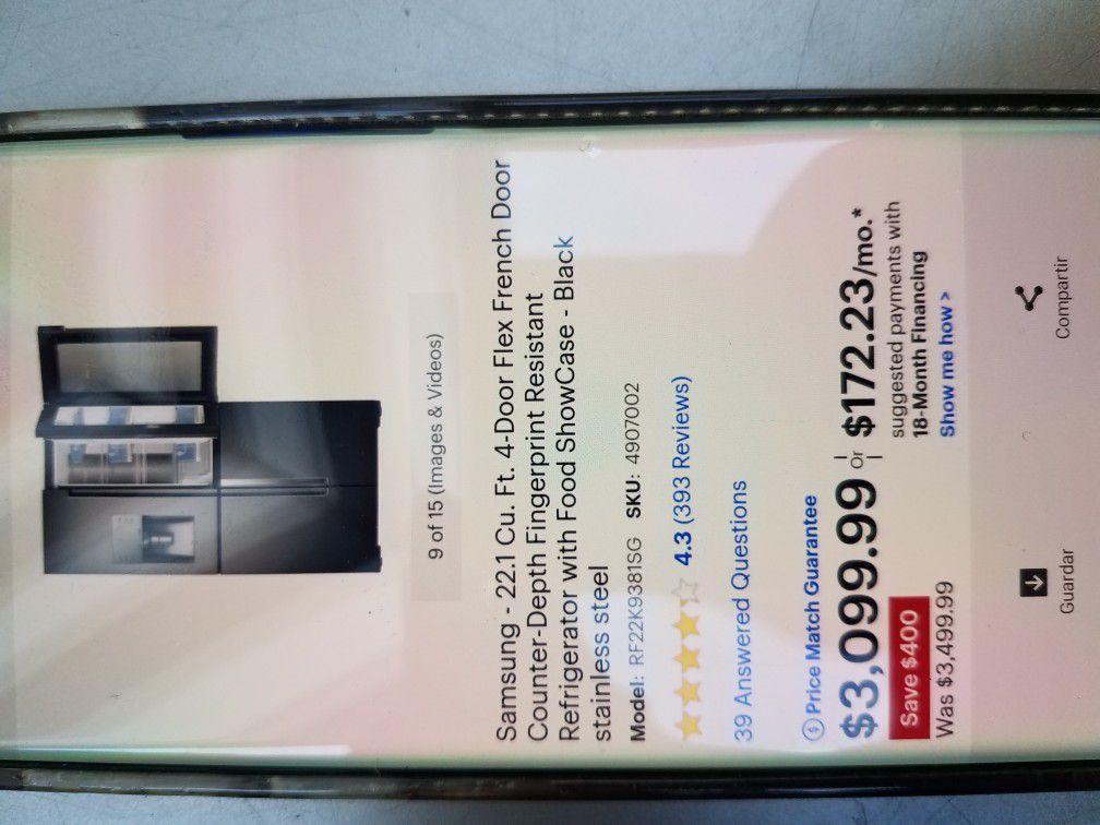 like new Samsung black stanless refrigerator