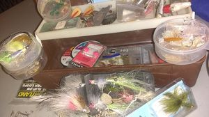 Vintage tackle box with flies and lures for Sale in Portland, OR