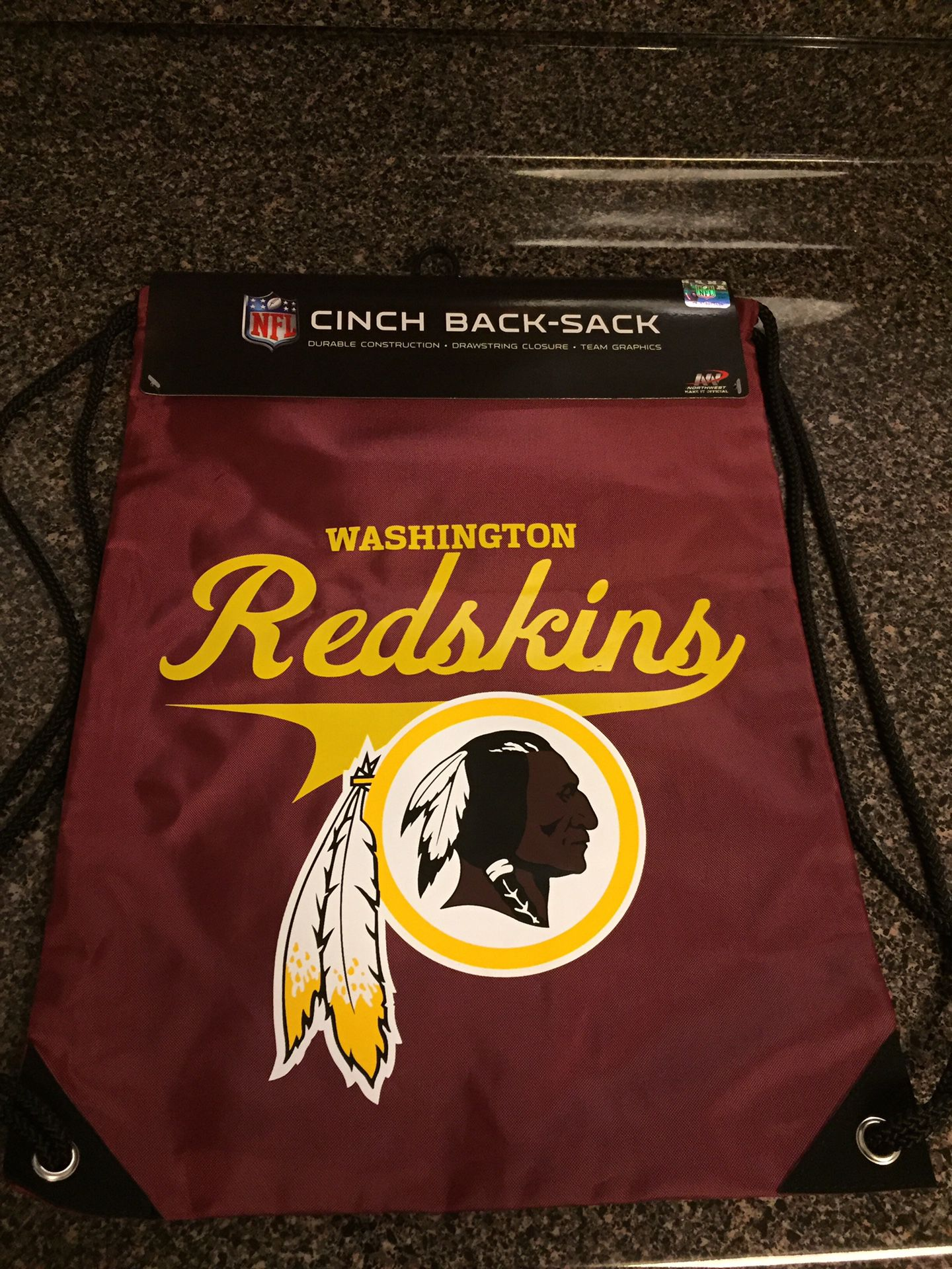 WASHINGTON REDSKINS NFL OFFICIALLY LICENSED Unisex Sports Draw String Carry Bag