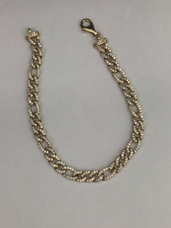 14k yellow gold Figaro with cubic zirconia bracelet 7.5 inches