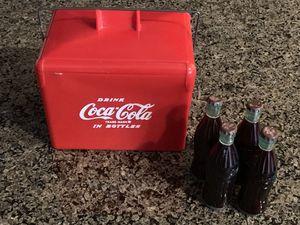 RARE 1950's miniature Coca-Cola plastic Picnic Cooler complete with 4 bottles for Sale in Falls Church, VA