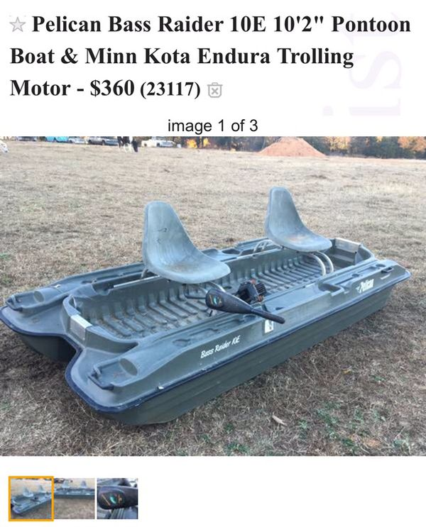 Pelican Bass Raider 10e 10 2 Pontoon Boat Minn Kota Endura Trolling Motor 360 For Sale In Mineral Va Offerup