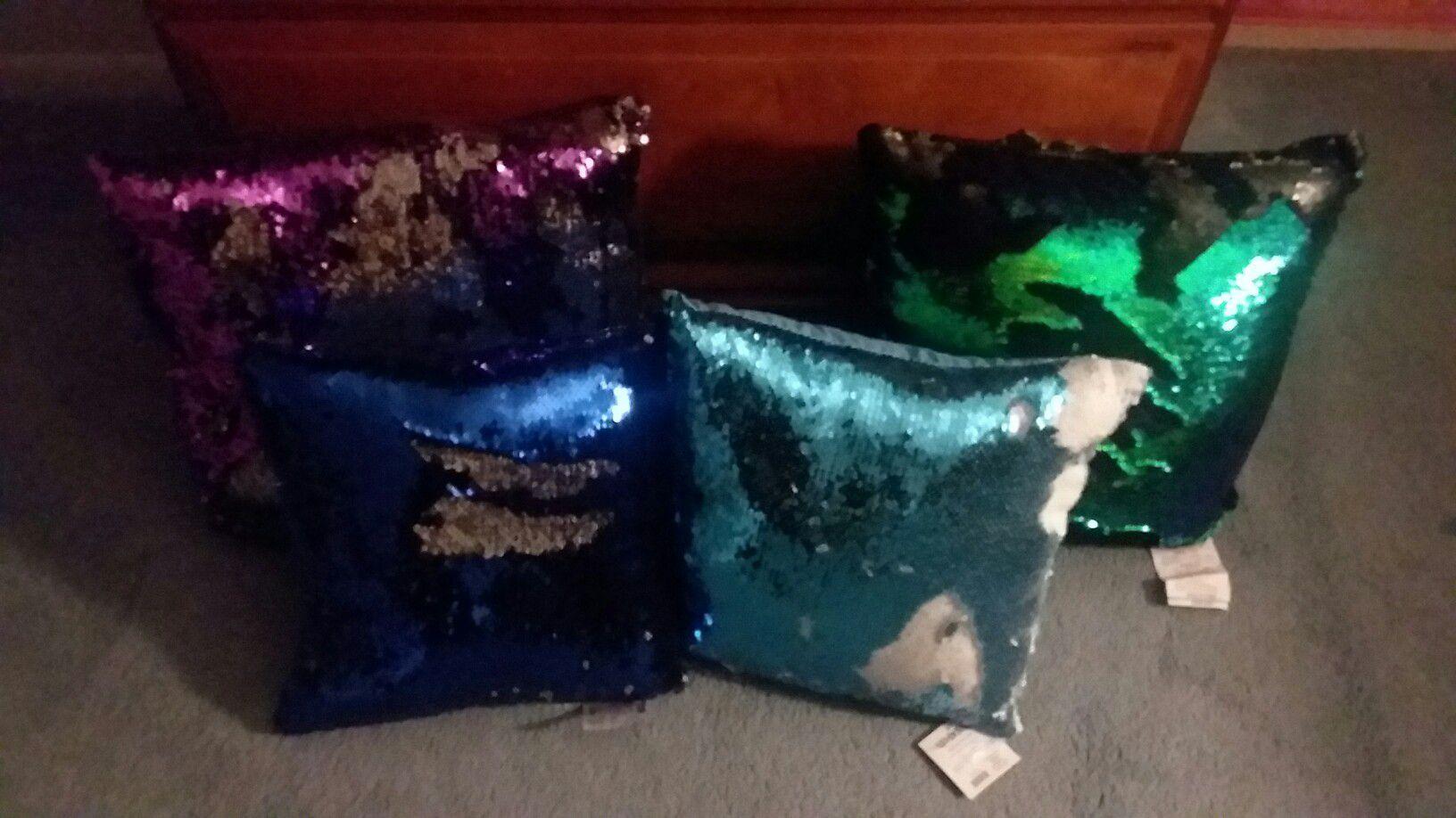 4 sequin pillows