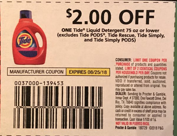 Coupon TIDE $2 00 OFF One for Sale in DeSoto, TX - OfferUp