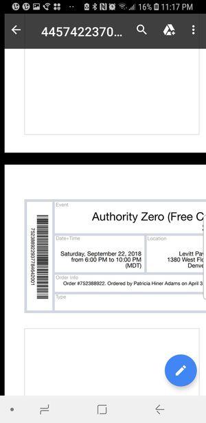 AUTHORITY ZERO TICKETS for Sale in Aurora, CO
