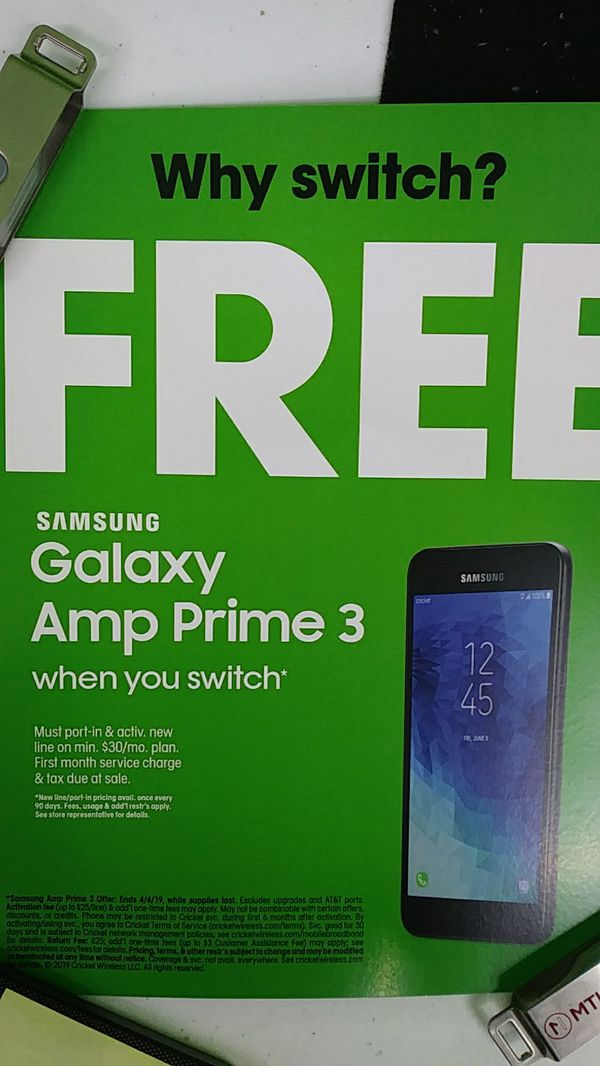 Galaxy amp prime 3 free when you swtich for Sale in Deer Park, TX - OfferUp