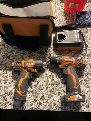 Photo Ridgid 12V drill driver and impact driver kit with (2) batteries and charger