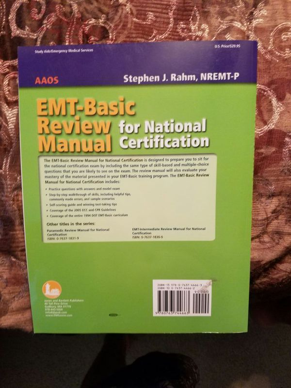 EMT basic review manual for national certification for Sale in ...